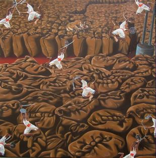 Unexpected Revelation 5 by Roy Thomas, Realism Painting, Oil on Canvas, Brown color