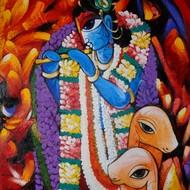 Krishna deva 4 x 5 ft acrylic on canvas