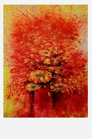 Flower by Sujata Chouksey, Expressionism Painting, Acrylic on Canvas, Red color