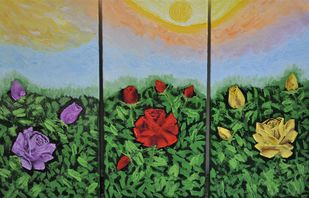 Roses (Triptych) by Mehernosh Venkatraman, Expressionism Painting, Oil on Canvas, Green color