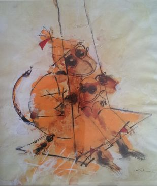 happy time by Archana Sharma, Expressionism Painting, Acrylic & Ink on Canvas, Brown color