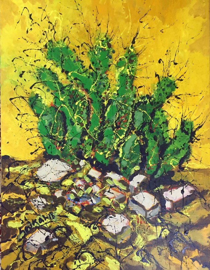 cactus by Saikat Chakraborty, Expressionism Painting, Acrylic on Canvas, Green color