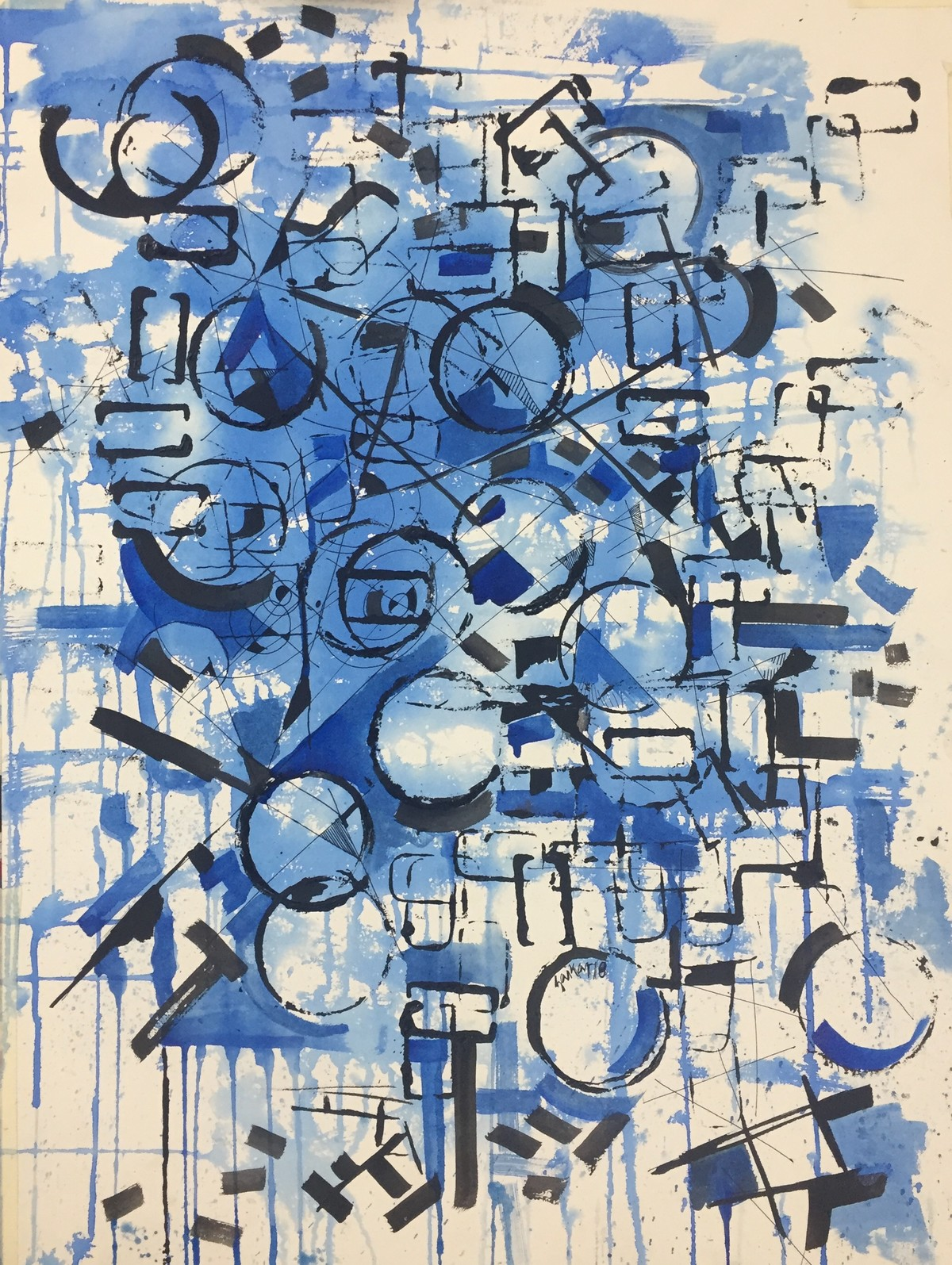 time keepers mind by Saikat Chakraborty, Expressionism Drawing, Watercolor & Ink on Paper, Blue color