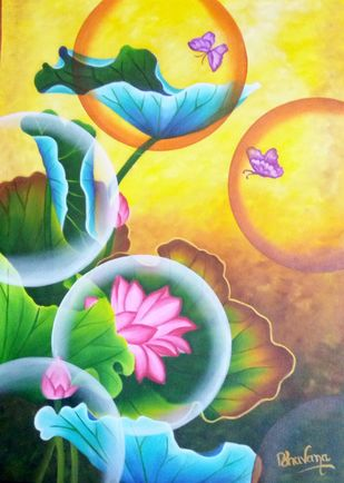 Dream catcher canvas painting by Bhavana Saxena, Fantasy Painting, Oil on Canvas, Green color