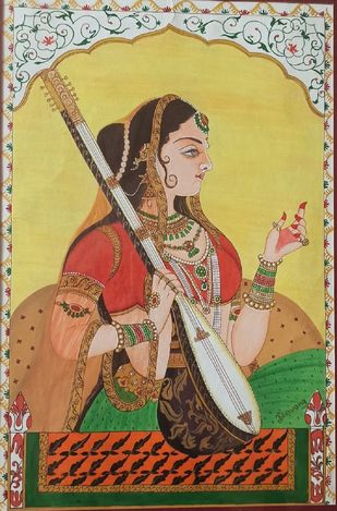 Indian Classic Miniature : Lady With Sitar by Bhavana Saxena, Traditional Painting, Watercolor on Paper, Brown color