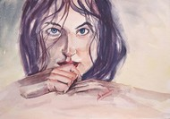 Stare by Samudra Kallol Sarma, Impressionism Painting, Watercolor Wash on Paper, Pink color