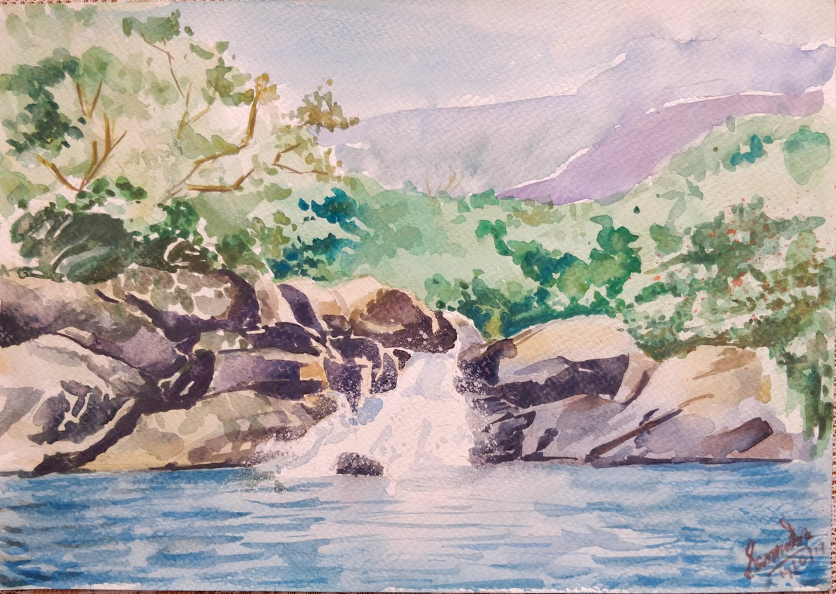 Gushing waters by Samudra Kallol Sarma, Impressionism Painting, Watercolor on Paper, Beige color