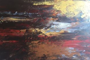 ABSTRACT SEA SCAPE by Nidhi Jaiswal, Abstract Painting, Acrylic on Canvas, Brown color