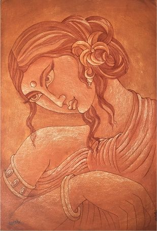 LADY by Nidhi Jaiswal, Impressionism Painting, Watercolor Wash on Paper, Brown color