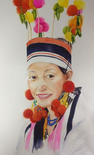 Naga Lady with headgear by Laishram Jenny , Impressionism Painting, Watercolor on Paper, Gray color
