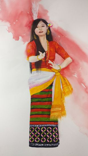 Meitei Folk singer by Laishram Jenny , Impressionism Painting, Watercolor on Paper, Pink color