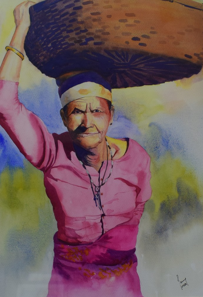 Old Kumaoni Lady by Laishram Jenny , Impressionism Painting, Watercolor on Paper, Brown color