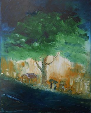 Monsoon by Sangeeta B. Sahay, Impressionism Painting, Oil on Canvas, Green color