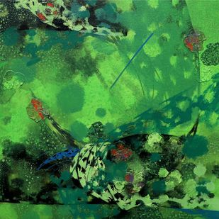 colours of life by Asif sharief Shaikh, Abstract Painting, Acrylic on Canvas, Green color