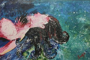 Self Absorbed by Srishti Bansal, Expressionism Painting, Mixed Media on Canvas, Blue color