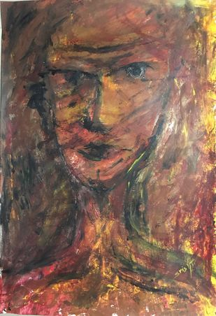 The man by Srishti Bansal, Expressionism Painting, Acrylic on Acrylic Sheet, Brown color