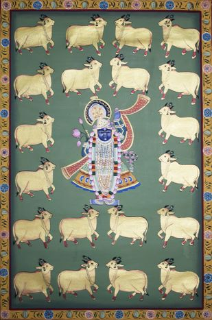 Pichwai Painting by Unknown Artist, Folk Painting, Natural stone colour on cotton, Beige color
