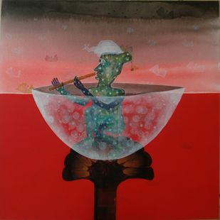Krashn-2 by Yogeeta Yadav, Expressionism Painting, Acrylic on Canvas, Brown color