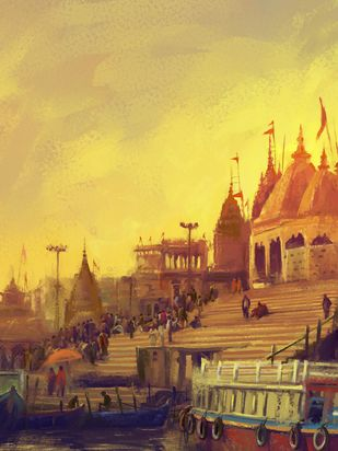 Varanasi- Dusk Digital Print by The Print Studio,Digital