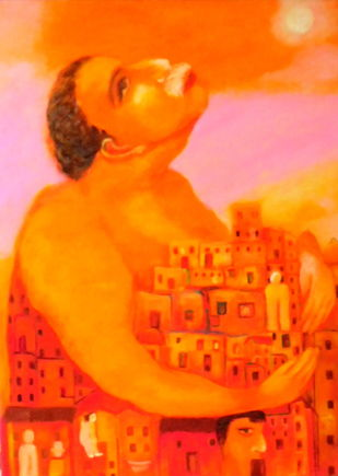 Life garden by Aradhna Tandon, Expressionism Painting, Oil on Canvas, Orange color