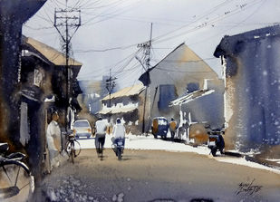 Street by Sunil Linus De, Impressionism Painting, Watercolor on Paper, Gray color