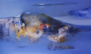 Deep in the dream by Khilavan, Abstract Painting, Oil on Canvas, Blue color