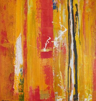 Flow of life NDV3 by Nandini, Abstract Painting, Acrylic on Canvas, Orange color