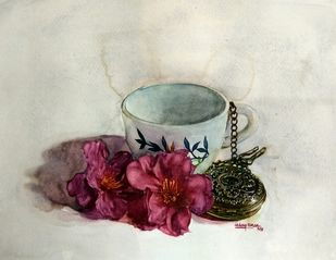 Cup by Uday Bhan, Realism Painting, Watercolor on Paper, Beige color