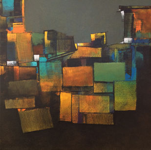 Gray morning by sharath kumar , Abstract Painting, Acrylic on Canvas, Brown color