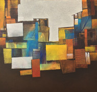 In between Everything by sharath kumar , Abstract Painting, Acrylic on Canvas, Brown color