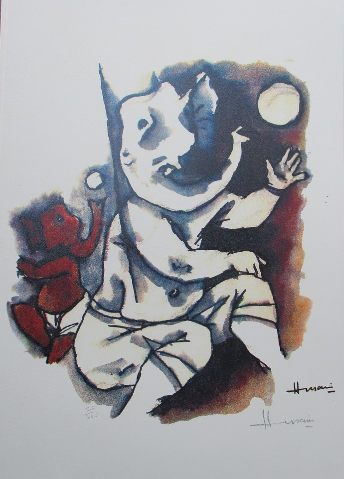 Ast Vinayak Series by M F Husain, Expressionism Printmaking, Serigraph on Paper, Gray color