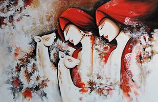 Peaceful Love by pradeesh k raman, Expressionism Painting, Acrylic on Canvas, Brown color