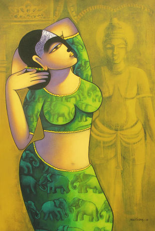 Celestial beauty.. Sursundari 2 by Pratiksha Bothe, Expressionism Painting, Acrylic on Canvas, Green color