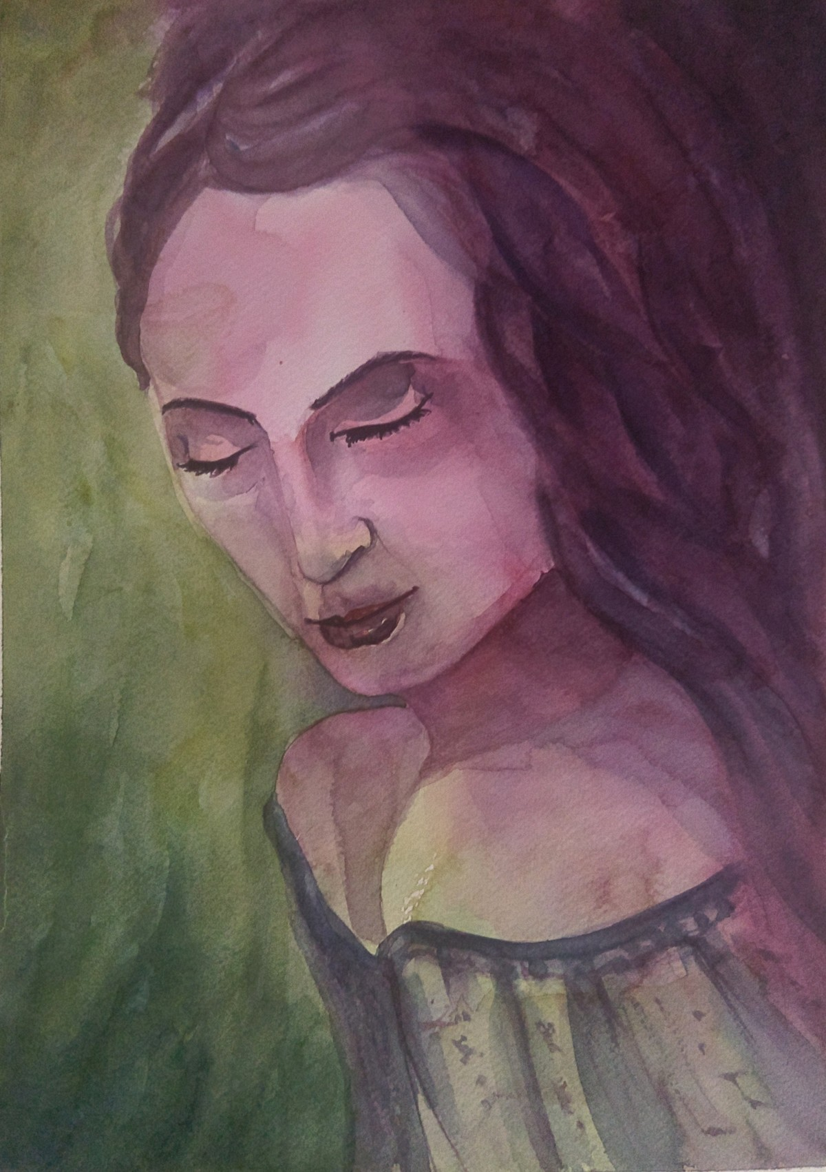 Tranquil by Samudra Kallol Sarma, Expressionism Painting, Watercolor on Paper, Brown color