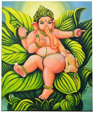 Playful Bal Ganesha by Asha Shetty, Decorative Painting, Acrylic on Canvas, Green color