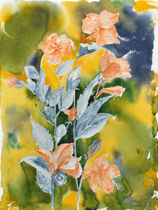 Hibiscus ( Chinese style ) by Manju Srivatsa , Impressionism Painting, Watercolor on Paper, Beige color