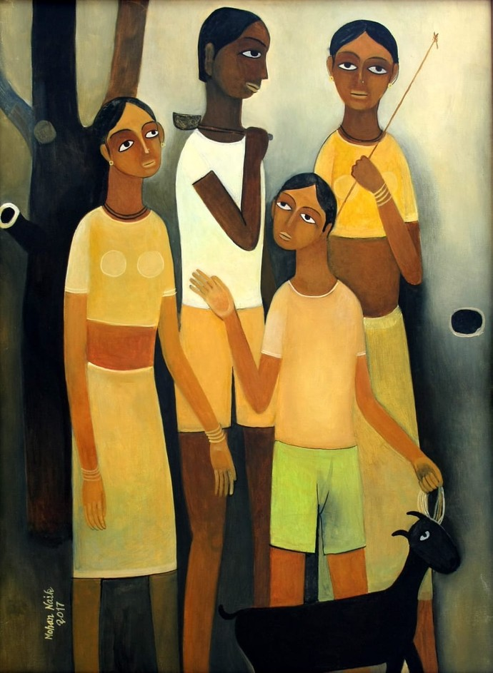 Untitled by Mohan Naik, Expressionism Painting, Oil on Canvas, Brown color