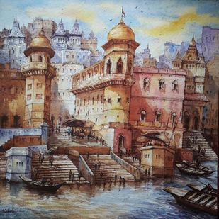 Benaras ghat-3 by Shubhashis Mandal, Impressionism Painting, Watercolor on Paper, Brown color