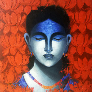 Celestial beauty.. Sursundari by Pratiksha Bothe, Expressionism Painting, Acrylic on Canvas, Red color