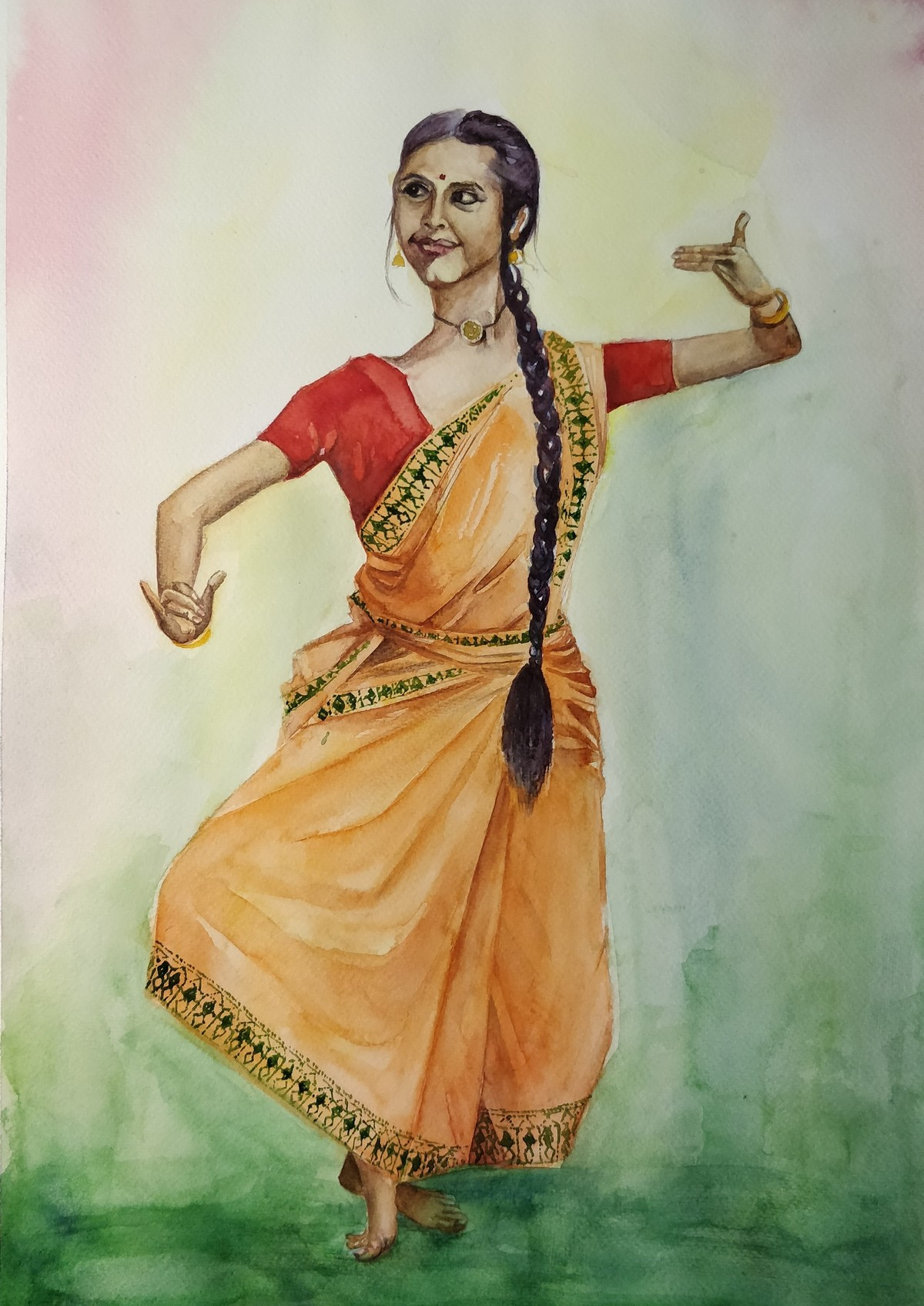 Saraswati by Samudra Kallol Sarma, Impressionism Painting, Watercolor on Paper, Beige color
