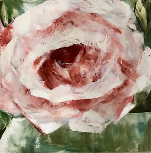 Rose 2 by Gita Jain, Impressionism Painting, Oil on Canvas, Beige color