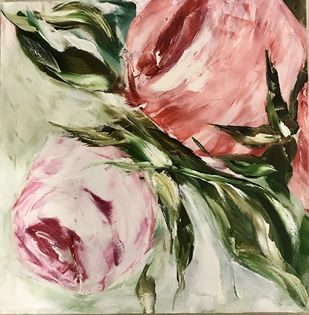 Rose 3 by Gita Jain, Impressionism Painting, Oil on Canvas, Beige color