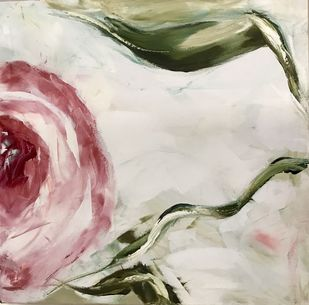 Rose 4 by Gita Jain, Impressionism Painting, Oil on Canvas, Beige color