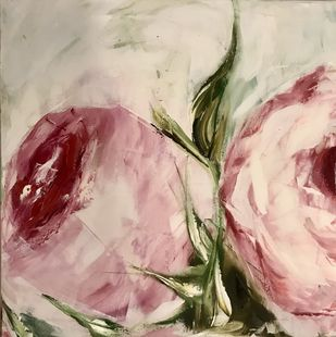 Roses 6 by Gita Jain, Impressionism Painting, Oil on Canvas, Beige color