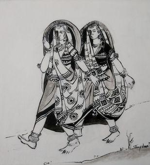 Untitled1 by Jayshree P Malimath, Illustration Painting, Acrylic on Canvas, Gray color