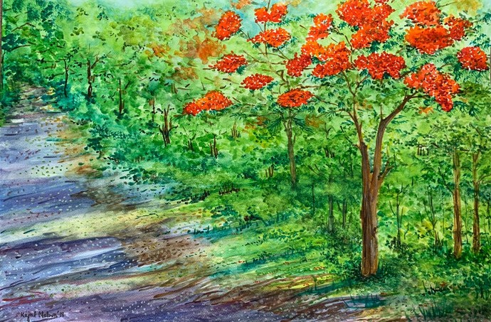 Gulmohar 2 by Kajal Nalwa, Impressionism Painting, Watercolor on Paper, Green color