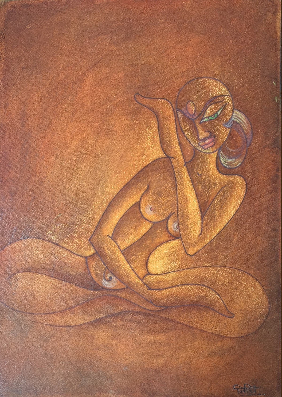LADY by Nidhi Jaiswal, Expressionism Painting, Watercolor Wash on Paper, Brown color