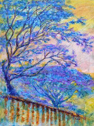 Temple Garden by Usha Shantharam, Impressionism Painting, Acrylic on Canvas, Blue color