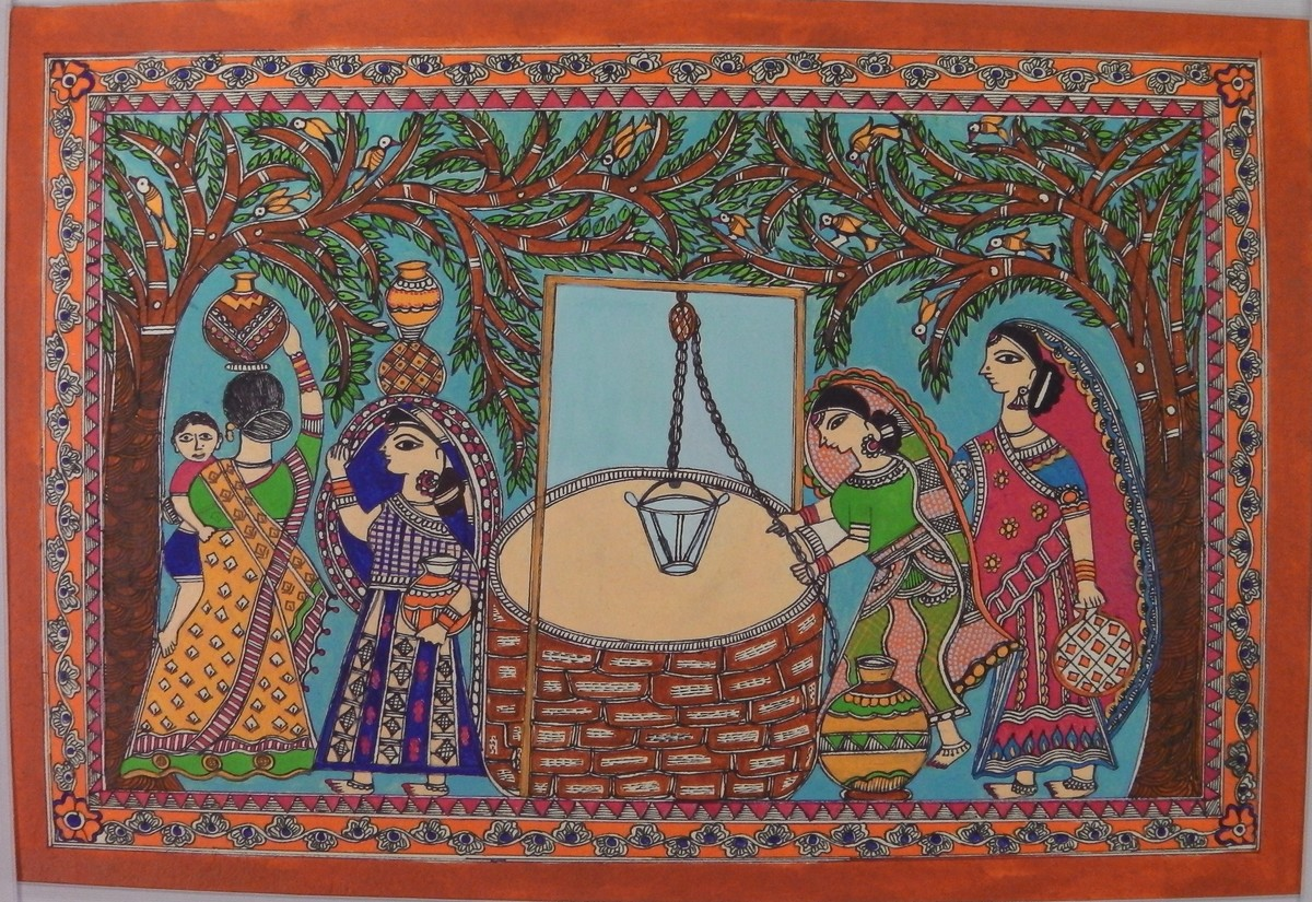 vasundhara by Abha Jha, Folk Painting, Ink and brush on paper board, Brown color