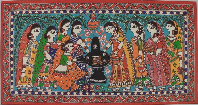 Solah Somvari by Abha Jha, Folk Painting, Pen, pencil, watercolour on paper, Brown color
